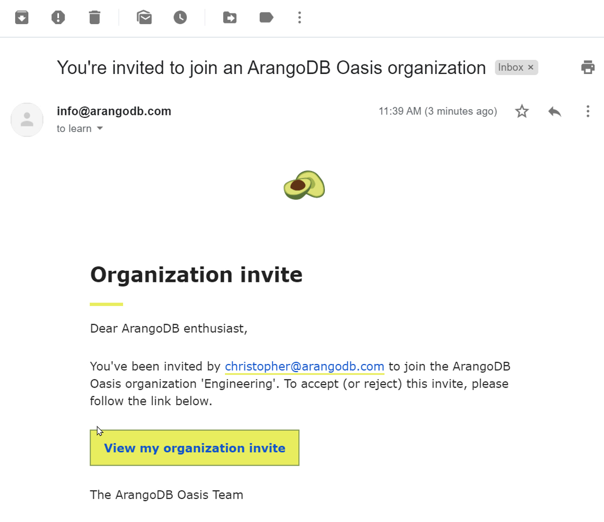 Oasis Organization Invite Email