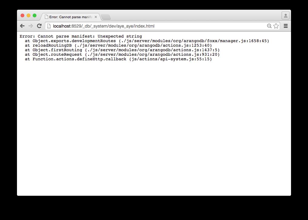 New foxx output if App is broken.