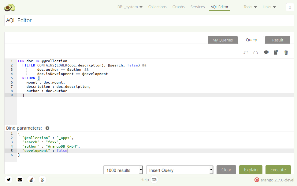 Using Bind Parameters in the AQL Editor - ArangoDB