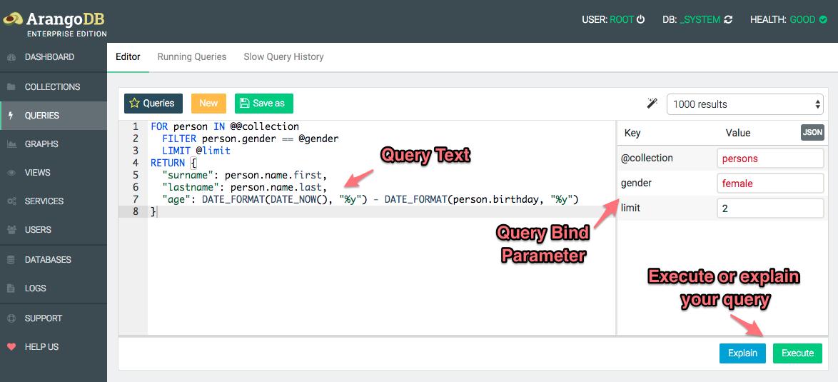 AQL Editor of ArangoDB - Basics of using the WebUI