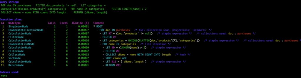 ArangoDB Query Profiler Output (Console)