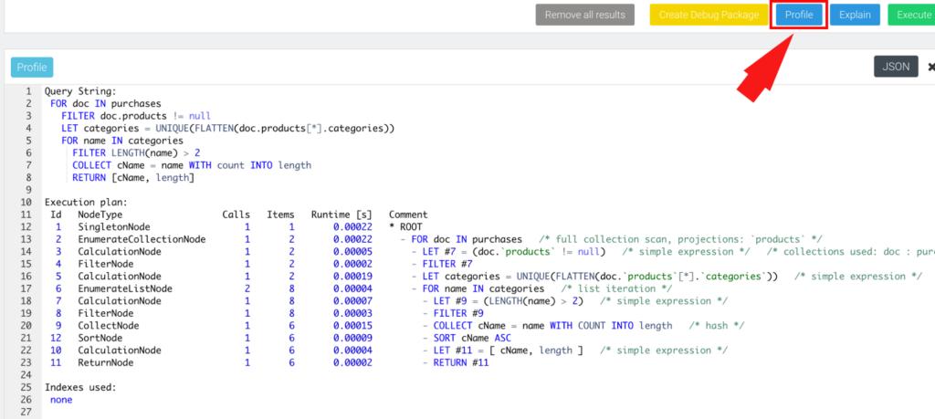 ArangoDB Query Profiler Output (WebUI)
