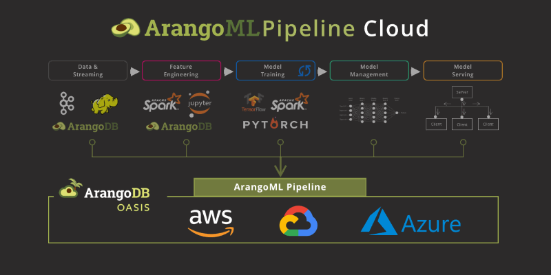 ArangoML Pipeline Cloud graphic showing an example machine learning pipeline